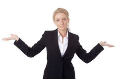 Shrugging Businesswoman. Isolated on a white background Stock Image