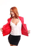 Shrugging happy woman in red Stock Photos