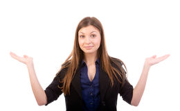 Shrugging a mulher na dúvida foto de stock royalty free