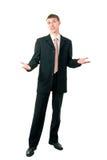 Shrugging novo do homem de negócios Fotografia de Stock Royalty Free