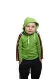 Shrugging shoulders. Boy in green shrugging shoulders isolated Royalty Free Stock Image