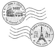 Shtamp rome paris. Hand drawing set of vector sketches Stock Photos