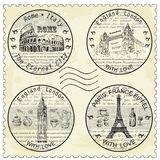 Shtamp rome paris london. Shtamp. hand drawing set of vector sketches Royalty Free Stock Photos