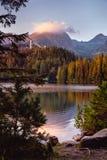 Shtrbske pleso lake in autumn. Slovakia High Tatras mountains royalty free stock photography