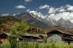 Shu He, China: Farmhouses and Mountains Stock Photos