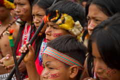 Shuar, gruppo indigeno dall'Ecuador fotografia stock