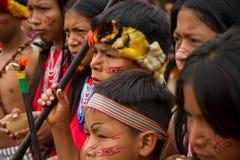 Shuar, indigenous group from Ecuador. ZAMORA, ECUADOR - JUNE 19, 2010: Unknown people belonging to the Shuar indigenous community in the ecuadorian jungle Stock Photography