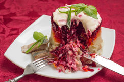 Shuba salad. Cooked beets, carrots, potatoes, onions, herring and mayonnaise. The classic Russian cuisine. Restaurant Royalty Free Stock Photography