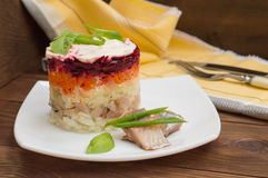 Shuba salad. Cooked beets, carrots, potatoes, onions, herring and mayonnaise. The classic Russian cuisine. Restaurant Royalty Free Stock Photo