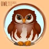 Shubby brown owl, cartoon series Stock Photo