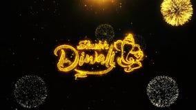 Shubh愉快的diwali祝愿贺卡,邀请,使成环的庆祝烟花 皇族释放例证