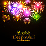 Shubh Deepawali celebration fireworks background. Creative sparkling festive background with colorful firework explosion, Glowing colorful Poster, Banner or stock illustration