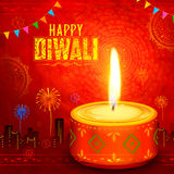 Shubh Deepawali. Illustration of Shubh Deepawali Happy Diwali background with watercolor diya for light festival of India vector illustration