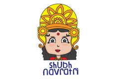 Vector Navratri Cartoon Illustration. Shubh Navratri Artistic Text Abstract Background with Goddess Durga. Vector Illustration. Isolated On White Background Stock Images