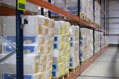 SHUCHIN, BELARUS - JANUARY 26, 2015. cargo boxes storing at warehouse shelves Royalty Free Stock Photography