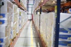 SHUCHIN, BELARUS - JANUARY 26, 2015. cargo boxes storing at warehouse shelves Royalty Free Stock Images