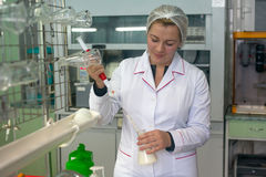 SHUCHIN, BIELORRÚSSIA - 26 DE JANEIRO DE 2015 Jovem mulher no laboratório químico que faz o controle microbiológico e químico da  Fotos de Stock Royalty Free