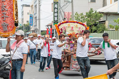 SHUEISHANG, TAIWÁN - 19 DE ABRIL: Los desfiles para la adoración de dios Fotos de archivo