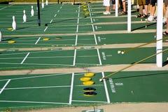 Shuffleboarding, Sarasota, Florida. Shuffleboard game starting at a resort, Sarasota, Florida stock photography