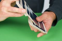 Shuffling cards Stock Image