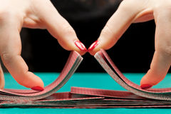 Shuffling playing cards Royalty Free Stock Photo