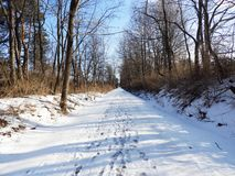 Schug Trail originally a train railway path. A rail trail is the conversion of a disused railway track into a multi-use path, typically for walking, cycling and royalty free stock images