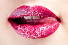 Shugar red lips Royalty Free Stock Photography