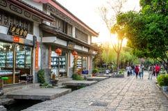 Shuhe古镇是其中一个丽江和保存良好的镇最旧的栖所古老茶路线的 云南中国 免版税库存照片