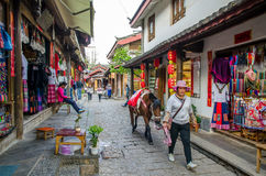 Shuhe Ancient Town is one of the oldest habitats of Lijiang and well-preserved town on the Ancient Tea Route. Lijiang,Yunnan - April 13,2017 : Shuhe Ancient Stock Photography