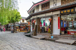 Shuhe Ancient Town is one of the oldest habitats of Lijiang and well-preserved town on the Ancient Tea Route. Lijiang,Yunnan - April 13,2017 : Shuhe Ancient Royalty Free Stock Photography