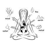 Shui del feng de cinco elementos Imagen de archivo libre de regalías