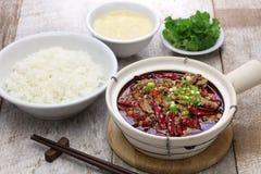 Shui zhu, chinese sichuan cuisine. Shuizhu, shui zhu, sliced beef in hot chili oil, Chinese Sichuan cuisine Stock Photos
