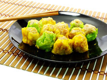 Shumai dumplings dim sum. On wooden background Stock Photos