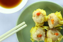 Shumai , siu mai - chinese steamed pork dumplings on white background Royalty Free Stock Images