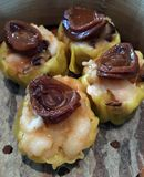Shumai topped with mini abalone Stock Image