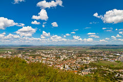 Shumen viewed from high. Panorama of the town of Shumen seen from the plateau Stock Photo