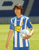 Shunsuke Nakamura presentation. The international japanese soccer player Shunsuke Nakamura with RCD Espanyol t-shirt Stock Images