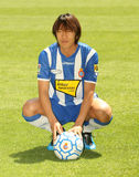 Shunsuke Nakamura presentation. The international japanese soccer player Shunsuke Nakamura with RCD Espanyol t-shirt Royalty Free Stock Photography
