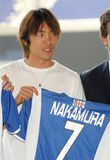 Shunsuke Nakamura presentation. The international japanese soccer player Shunsuke Nakamura with RCD Espanyol t-shirt Stock Photo