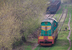 Shunting diesel locomotive standing on the siding Royalty Free Stock Photography