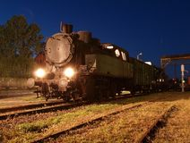 Shunting. The locomotive from the museum in Skierniewice in night scene Royalty Free Stock Image