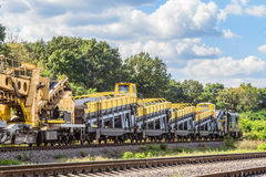 Shunting locomotive with wagons equipped with complexes for the construction and repair of railway tracks Stock Image