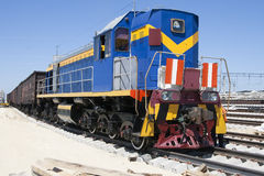 Shunting locomotives jumped the rails. The front carriage shunting locomotives jumped the rails Royalty Free Stock Image