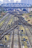 Shunting yard with meandering tracks Royalty Free Stock Photography