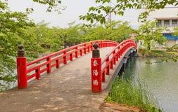 Shunyo-bashi bro av den Hirosaki slotten, Hirosaki stad, Japan Arkivfoton