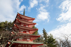 Shureito pagoda at Fuji mountain Stock Photo