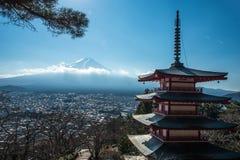 Shureito pagoda and Fuji mountain in Japan Stock Image