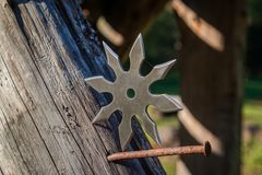 Shuriken throwing star, traditional japanese ninja cold weapon. Stuck in wooden background stock photography