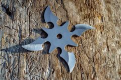 Shuriken throwing star, traditional japanese ninja cold weapon. Stuck in wooden background royalty free stock photography