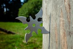 Shuriken throwing star, traditional japanese ninja cold weapon. Stuck in wooden background stock images